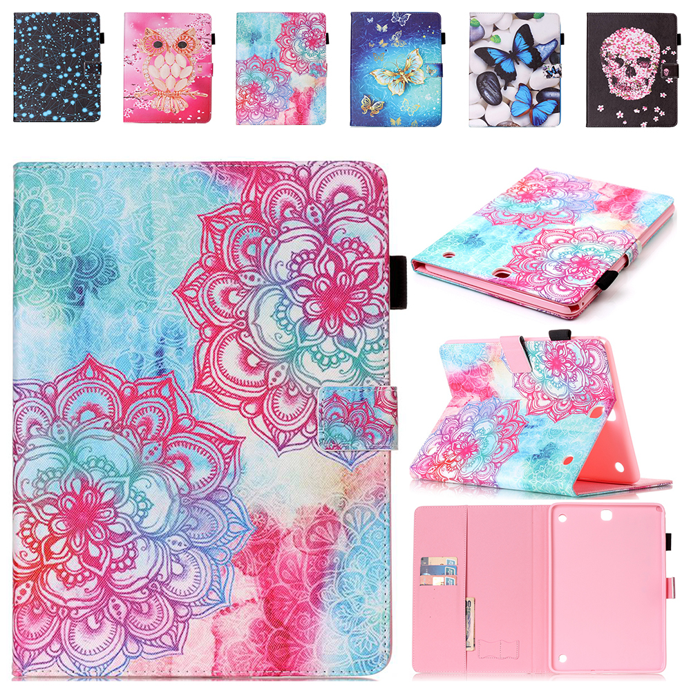 Fashion Print PU Leather Case For Samsung Galaxy Tab A 9.7 SM-T555 T550 9.7 Tablet Cover Case Stand with Stylus Holder