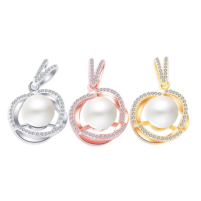 2017 New fashion handmade copper jewellery Micro Pave Zircon Rhinestone Pearl Cage Pendant Drop Charms For Women Girls Nice Gift