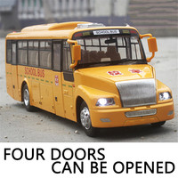 1 32 Alloy School Bus Diecast USA Alloy Bus Model Authentic Four Door Sound Light Van