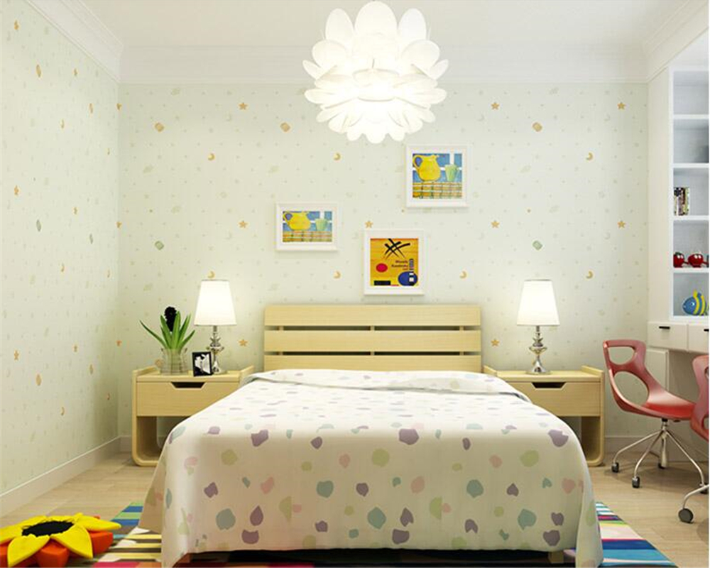 beibehang Warm and lovely fashion Golden Star Moon Nonwovens papel de parede 3d Wallpaper Boys Girls Bedroom Kids Wall paper beibehang wallpaper simple and lovely