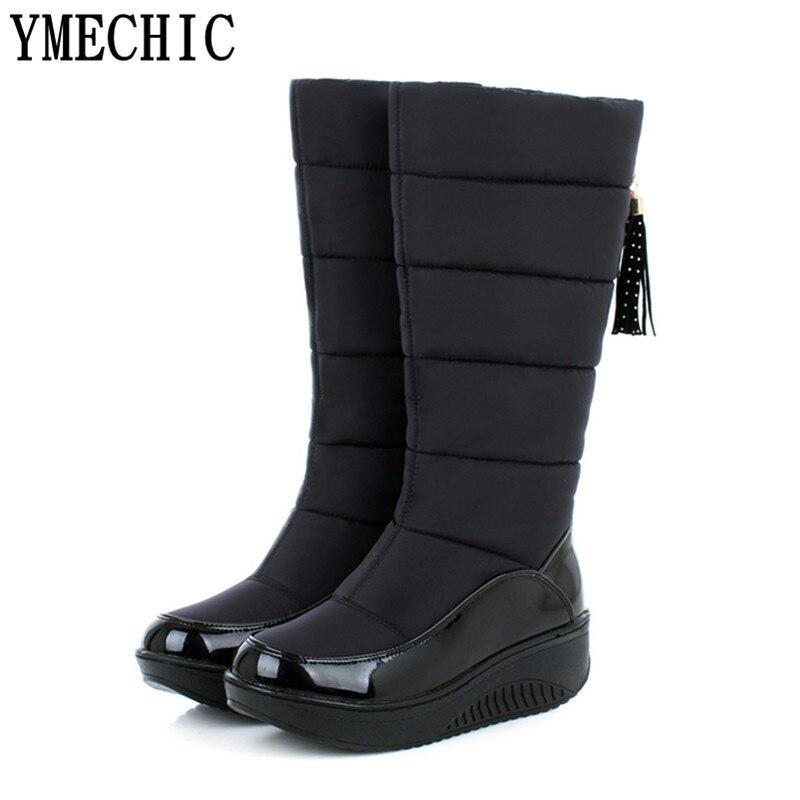Invierno orange Zapatos Plataforma Marrón Ternero Nieve Black Piel Grueso De brown Negro Botas Ymechic Naranja Mediados Más Mujer Calzado qI44U1wx