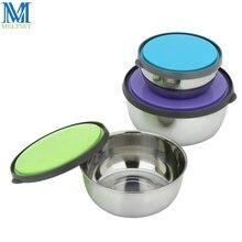 3 teile/satz Edelstahl Lebensmittel Lagerung Bowl Set Mit Deckel Runde Gemüse Schärfer Schalen Snack Obst Erhaltungen Boxen