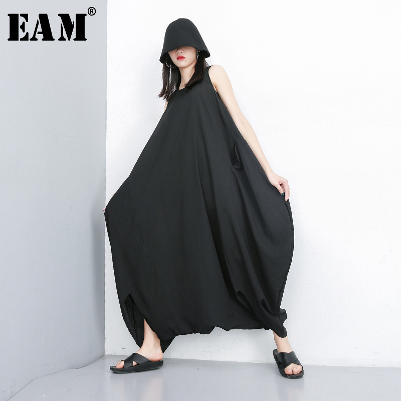 [EAM] 2020 New Spring Autumn High Waist Black Big Size Split Joint Loose Wide Leg Pants Women Jumpsuit  Fashion Tide JT171