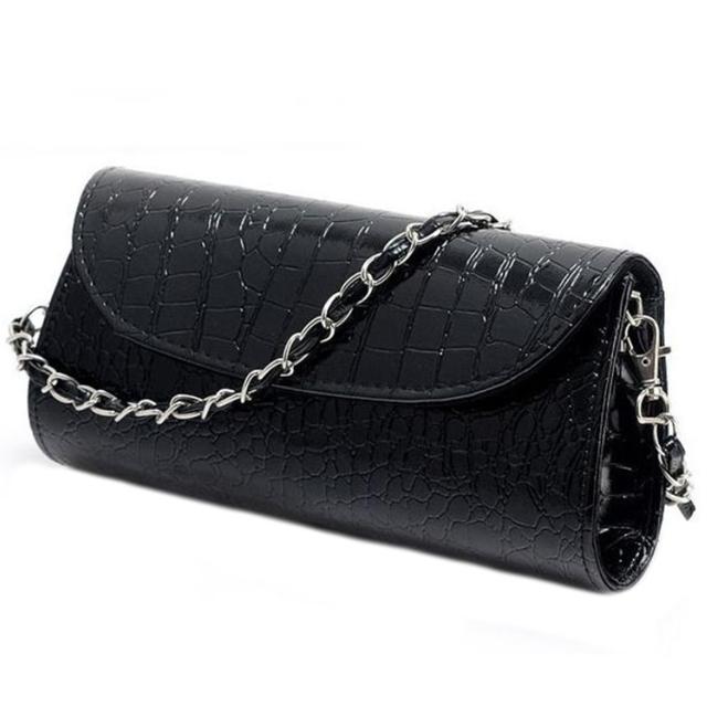 2017 Clutch Shoulder Bag Crocodile Leather Black / White