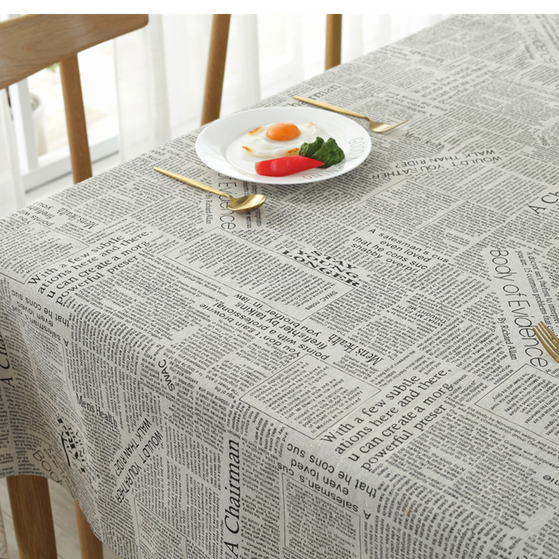 ESQUIRE Linen Cotton Fabric Dining Tablecloth Square English Newspaper Coffee Color Table Cloth Home Christmas Decoration Cloth
