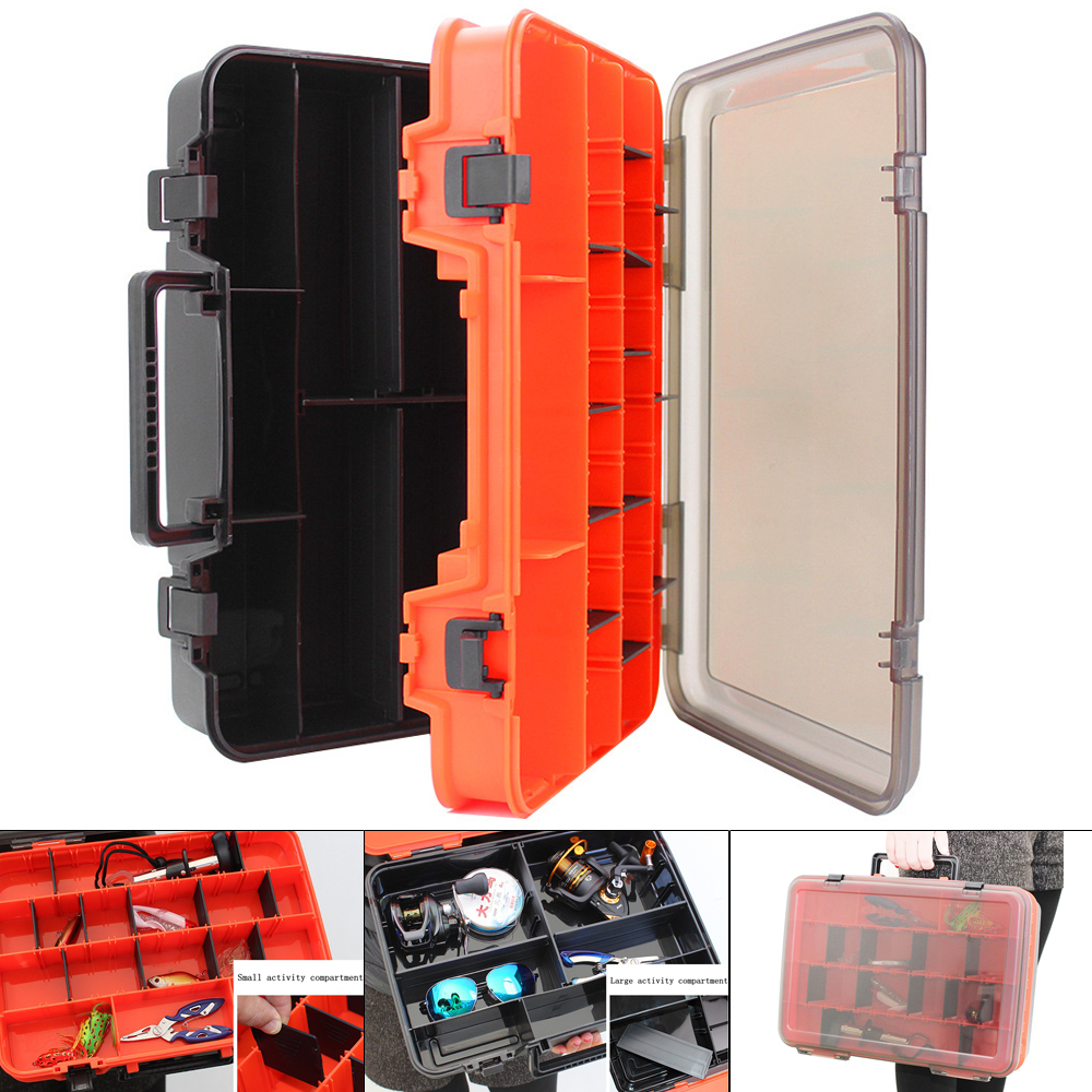 Boxes Storage-Box Fishing-Tackle Lure-Tool Double-Sided Large Portable Thicken 39x28-X-12cm title=
