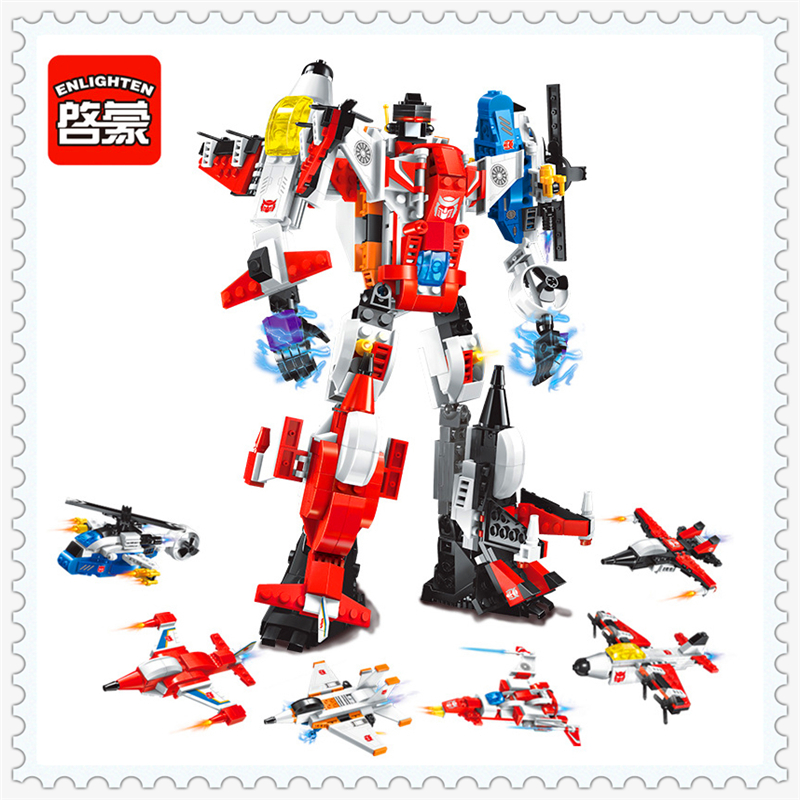 ENLIGHTEN 1405 6In1 Transform Helicopter Aircraft Plane Building Block Compatible Legoe 6Pcs Educational Toys For Children decool 7108 batman chariot superheroes bat tank building block 506pcs diy educational toys for children compatible legoe