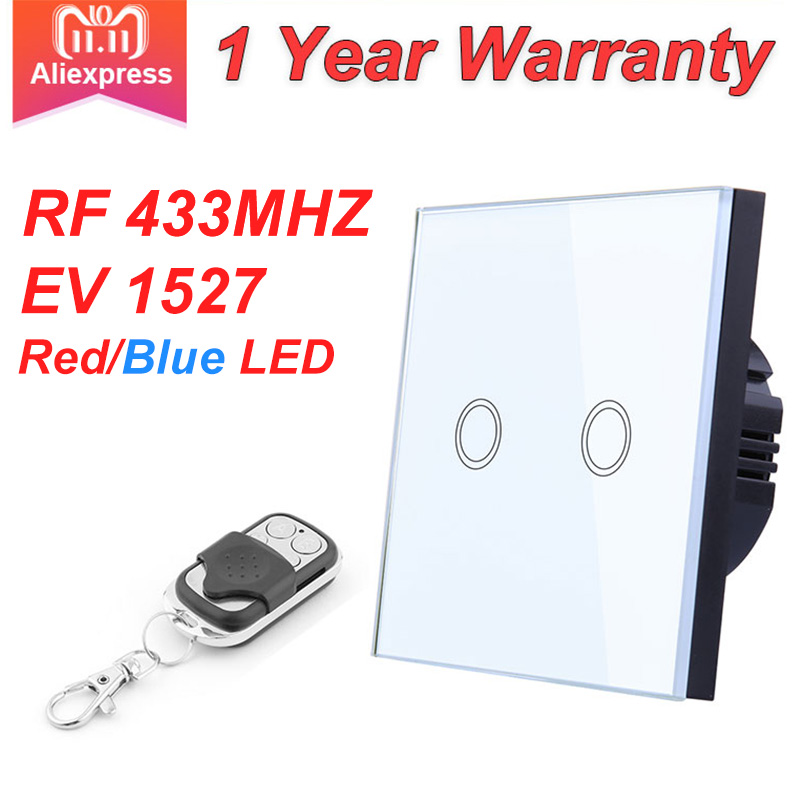 EU Standard VHOME Smart Touch Switch 2 Gang 1 Way,White Crystal Glass Switch Panel Sensor Switch With Wireless RF433Mhz Remote
