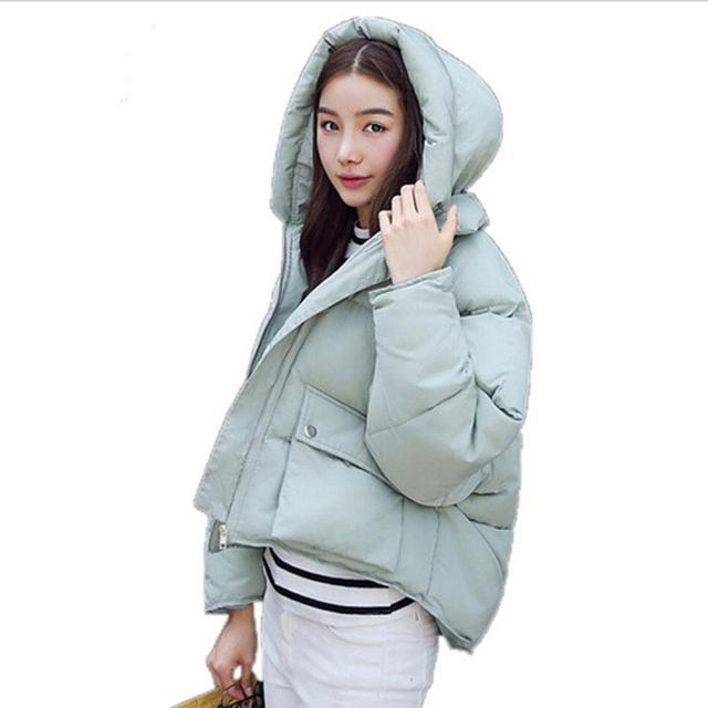 Mulheres Da Moda Casacos de Inverno Projeto Short de Algodão acolchoado Parkas Casacos Acolchoados Feminino Causual Quente Hoodies Solto