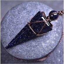 Натуральный голубой песчаник ожерелья и подвески с одним целым ПК ручной плетеной веревкой энергии каменный конус формы амулеты