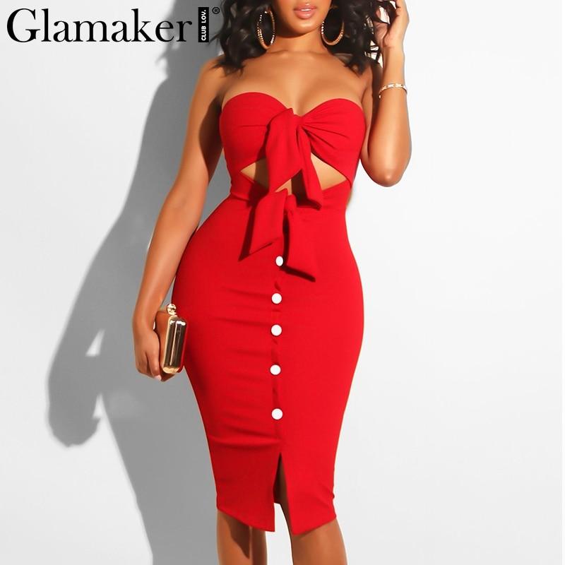 Glamaker Strapless Hollow Out Autumn Sexy Women Dress Red Bodycon Split Midi Party Dress Elegant Black Club Button Casual Dress