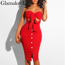 Glamaker Strapless hollow out summer sexy women dress Red bodycon split midi party dress Elegant black club button casual dress(China)