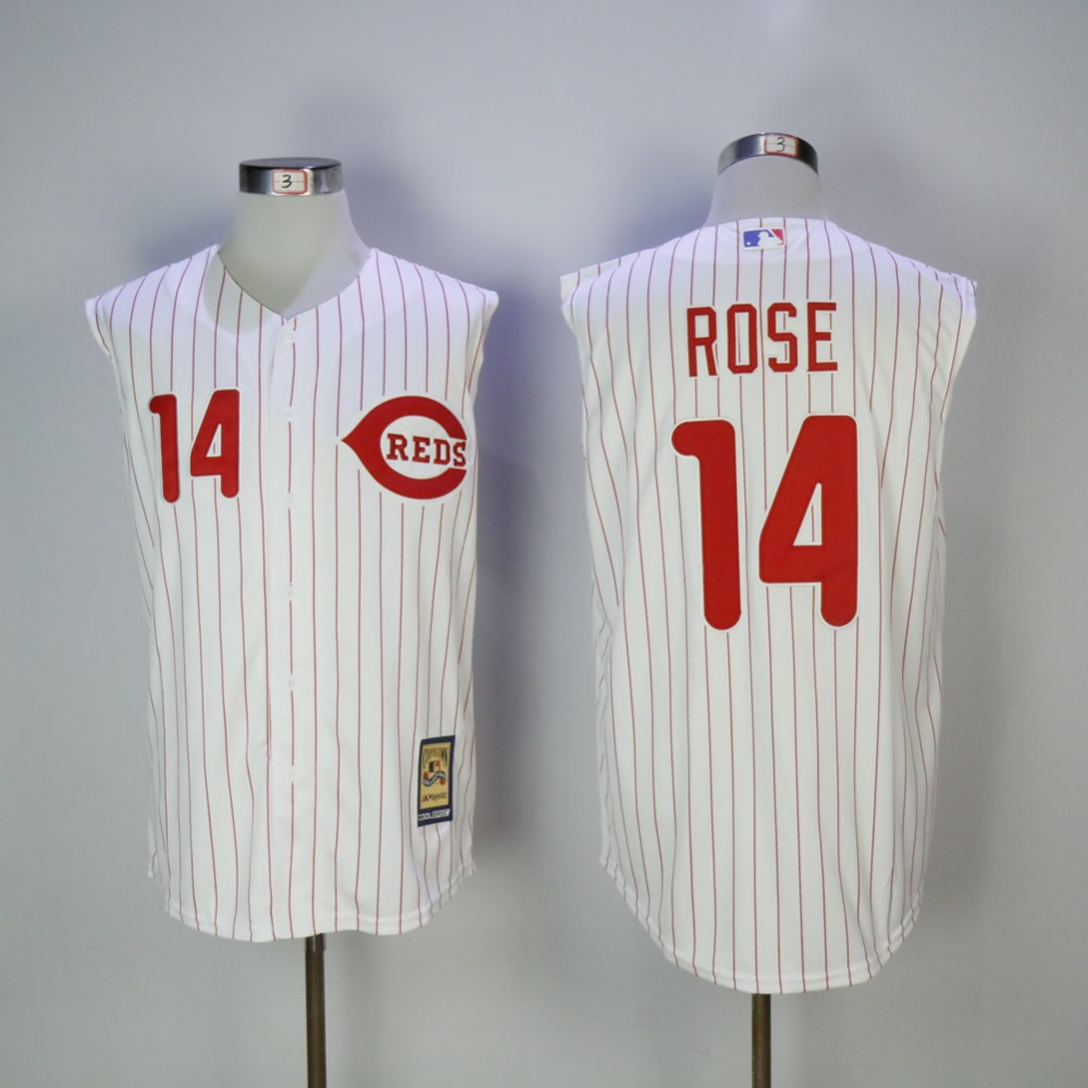 Mens Cincinnati Reds Pete Rose Coopertown Fully Stitched Sleeveless Throwback Baseball Jersey ...