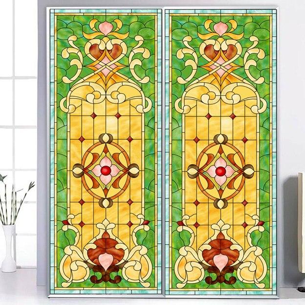 Taille personnalisée top grade Vintage européen rétro Art translucide auto-adhésif fenêtre verre Films autocollant papier porte autocollants a019