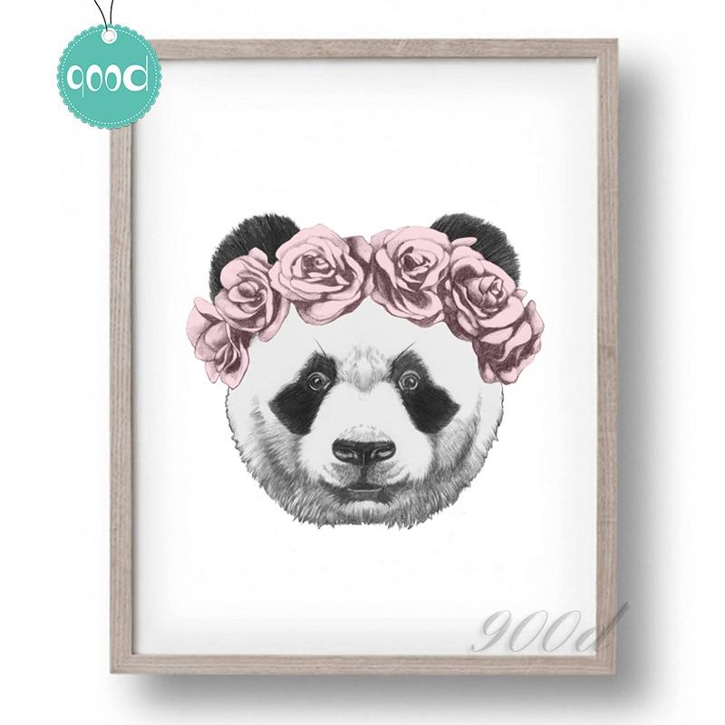 Panda Dessin Avec Rose Toile Art Print Affiche De Peinture