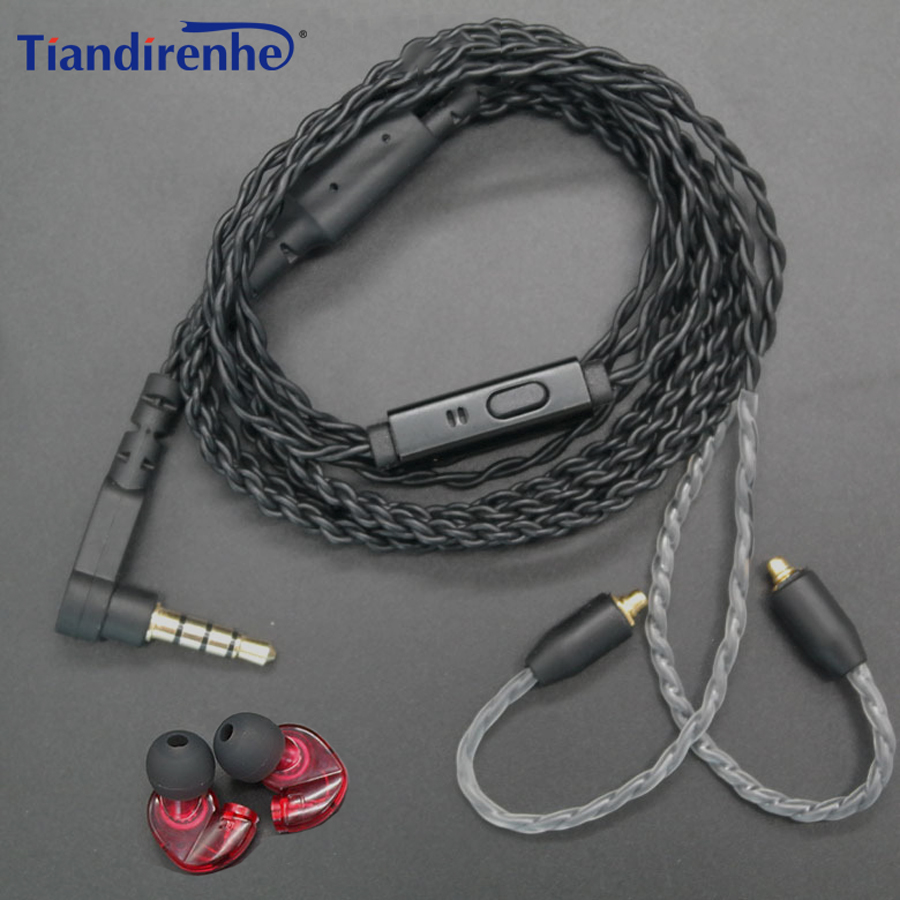 DIY MMCX Cable Detchable Earphone for Shure SE215 SE535 SE846 UE900 W20 Headphone Twist Replacement Stereo Bass Headset with MIC