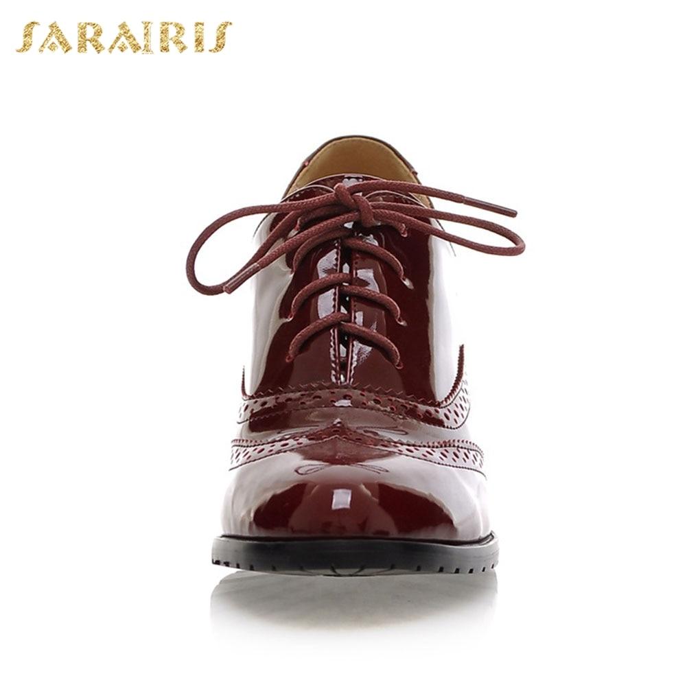 SARAIRIS Large Size 34-43 Women British Lace Up Chunky Heels Platform Patent PU Shoes Woman School Girls Pumps