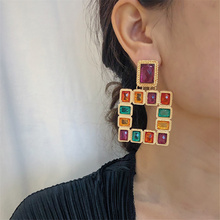 Multicolor Acrylic Crystal Earrings for Women Girl Charm Large Square Drop Bohemia Bride Jewelry 2019 Gift