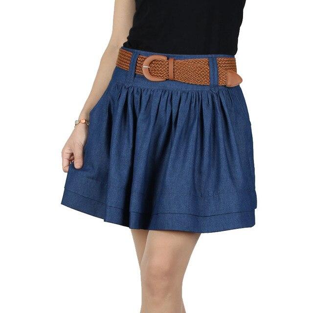 2016 de La Moda Al Por Mayor Del Verano Nuevas Mujeres de la Alta Calidad Delgada Floja Modelos de gran Tamaño Falda de Mezclilla Busto Falda de mezclilla de algodón Libre cinturón