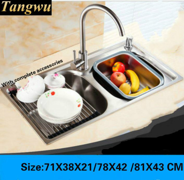 Tangwu more high quality 304 stainless steel kitchen sink the whole tangwu more high quality 304 stainless steel kitchen sink the whole stretch double tank washing dishes workwithnaturefo