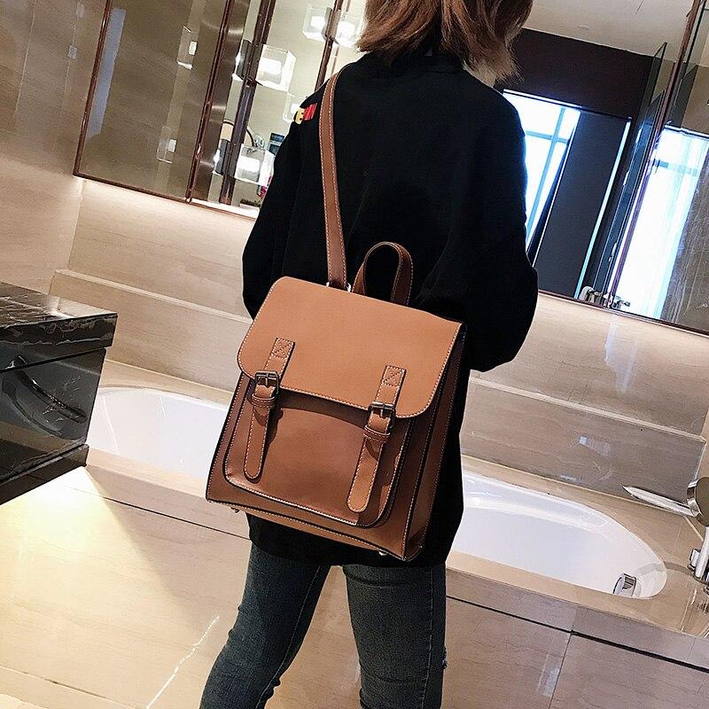 HTB1hDhqXJfvK1RjSspoq6zfNpXaZ Fashion 2 PCS/SET Leather Women Backpacks for Teenagers female Back Pack Large Capacity Pu Travelling Bags Vintage school bag