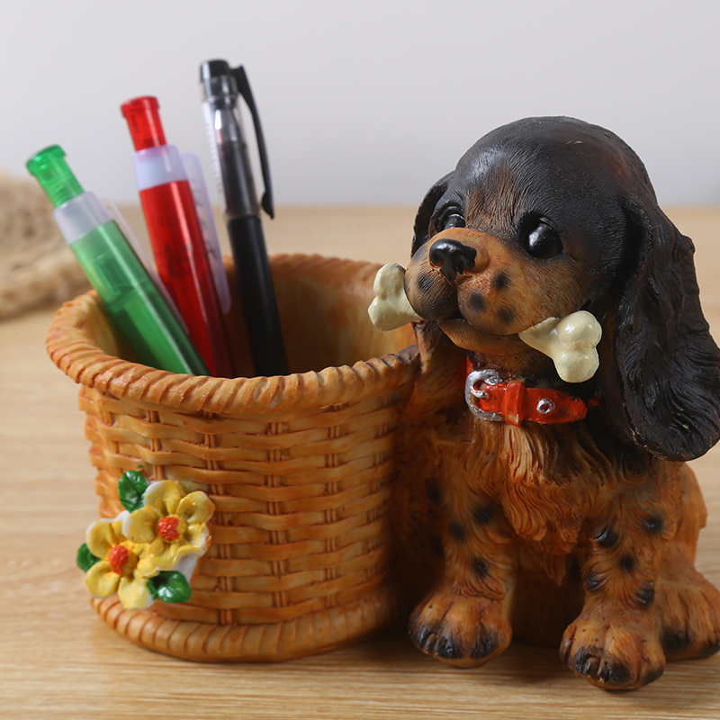Cute cartoon crafts decoration decoration Pug office desk creative pen lucky jewelry ornaments