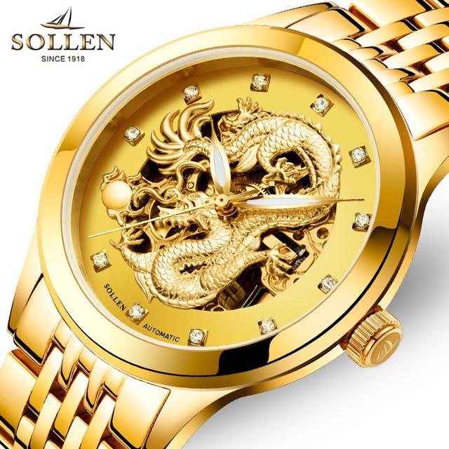 SOLLEN genuine watches hollow mechanical clock fashion men's watch waterproof luminous gold dragon  male wristwatches