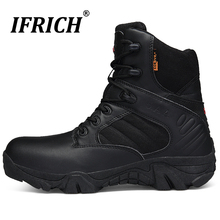 Hot Sale 2019 Military Boots for Men Fashion Outdoor Black Lace-up Man High Quality Boot Luxury Brand Combat