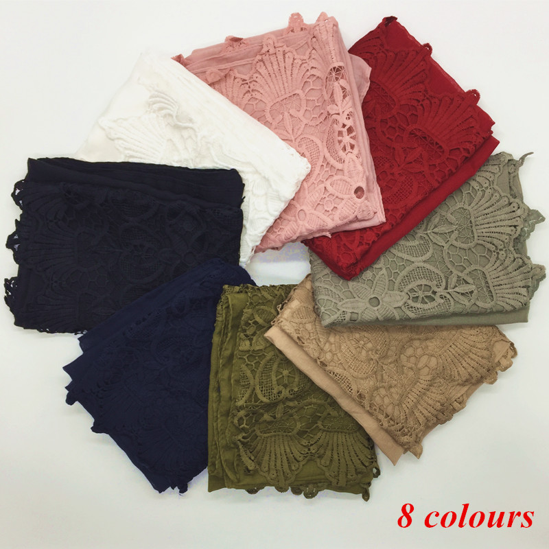 high quality cotton lace floral long scarf fashion Islamic hijab solid color muslim headband 8 color scarves/shawls 190*70cm