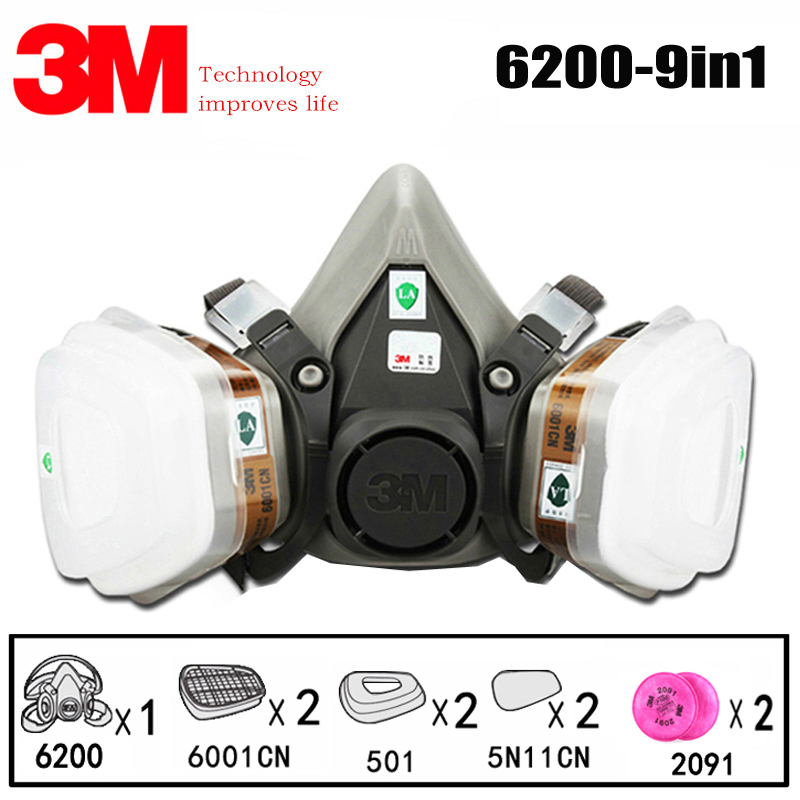 3M 6200 9in1 Half Facepiece Reusable Respirator 6001 Organic Vapor Cartridge 2091 Dust Filters Protect Against Organic Gas Dust