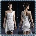 2015 Moda Un Hombro Blanco Sin Tirantes Vestidos de Coctel Cortos Vestidos de Partido de Coctel Drapeado Con Cuentas Moda Vestidos de Baile