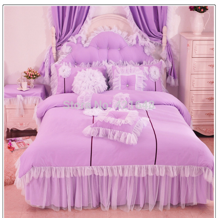 Purple Pink Blue Korean Lace Princess Bedding Set Cotton 3