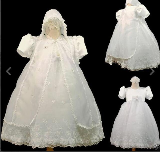 New Todder Baby Infant Christening Gowns Baptism Lace Princess First Communion Dresses WITH BONNET Sash 0-24month