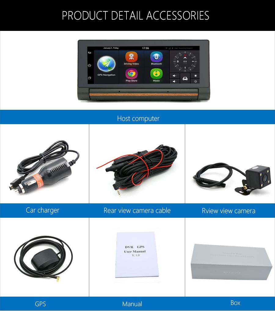 "Junsun 3G Car DVR GPS Camera 6.86""Android dash cam Full HD 1080p Video recorder Wifi Bluetooth registrator Dual lens dvrs Camera 40"