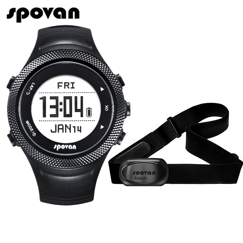 Spovan GL006 Sports Digital Watch GPS Navigation Heart Rate Monitor + Bluetooth 4.0 Chest Strap 3D Fitness Men Women Wristwatch b546 o to 220