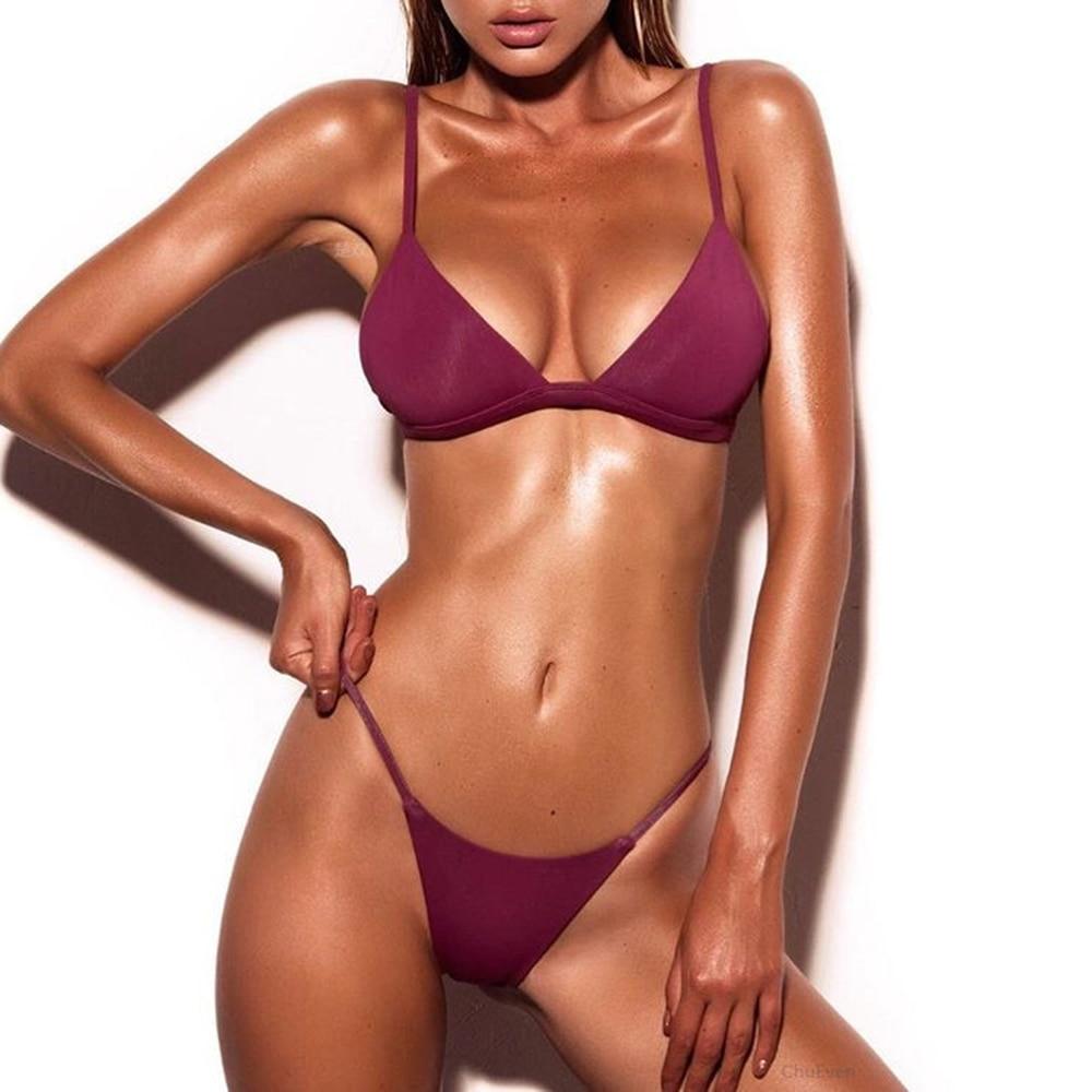 Buy 2018 Solid Swimwear Women Sexy Micro Bikinis Swimsuit Brazilian Biquini Female Beach Wear Bathing Suits Swimming Suit Bikini Set