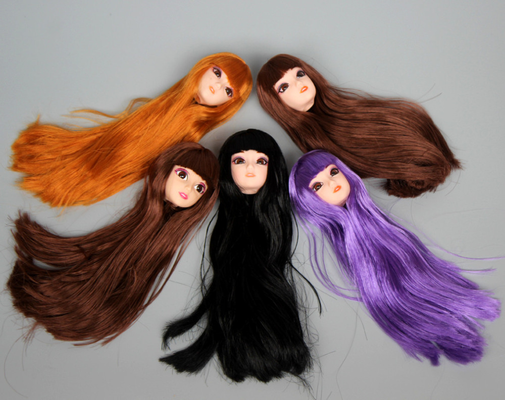 Doll Head , 3D Real Eyes Make-up With Curly Straight Thick Hair Accessories For DIY Cosplay 1/6 Barbie Doll Gift Toys For Girls
