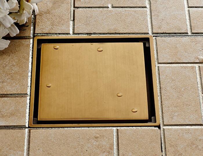 Free shipping bath floor drainer 10cm x 10cm Antique Brass floor drain bathroom antique copper drain DR087 free shipping antique bronze bath craved floor drain bath washing drainer