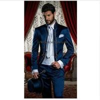 (Jacket+Pants)Italian Suit Embroidery Stand Collar Wedding Txuedos Blue Groomsmen Suit Bridegroom suit Two Piece Suit