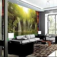 Beibehang 3d büyük duvar kağıdı mural hd küçük su düşüyor yeşil göl manzara sabah backdrop özel ipek fotoğraf duvar kağıdı