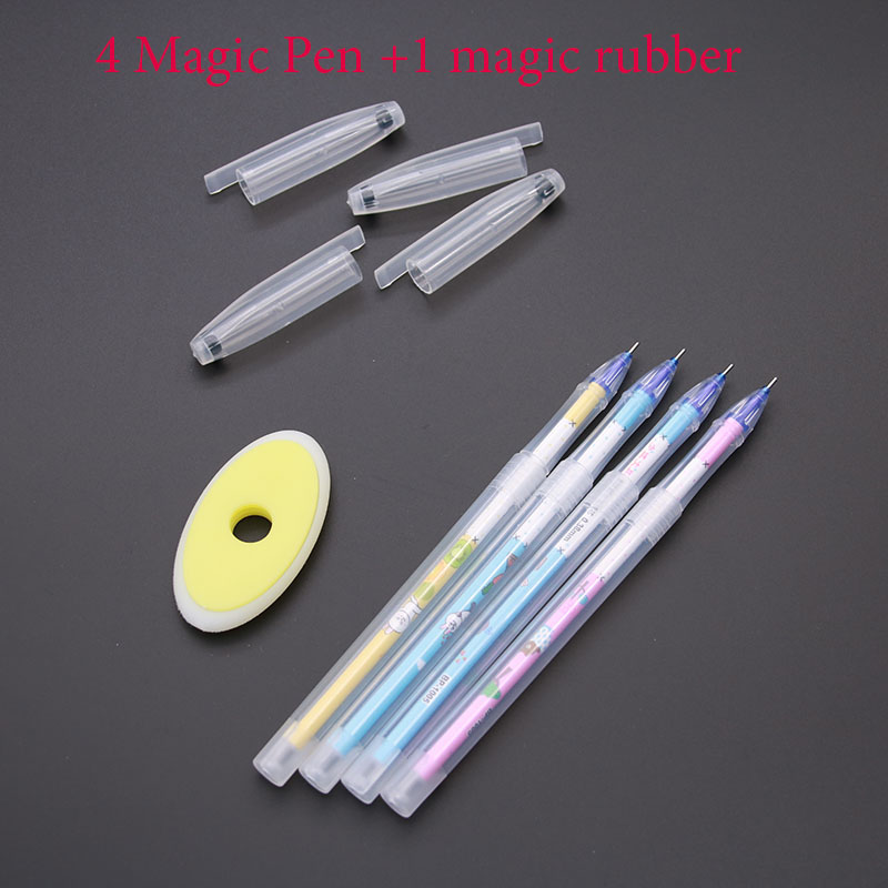 Wholesale! Erasable (4pc Magic Pen + 1pc Rub Rubber) Magic Erasable Pen 0.5mm Children's Office Stationery