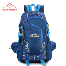 40L Ethnic Patchwork Waterproof Nylon Outdoor Sports Mountaineering Backpack Women Men Trekking Fishing Hiking Rucksack XA283WD