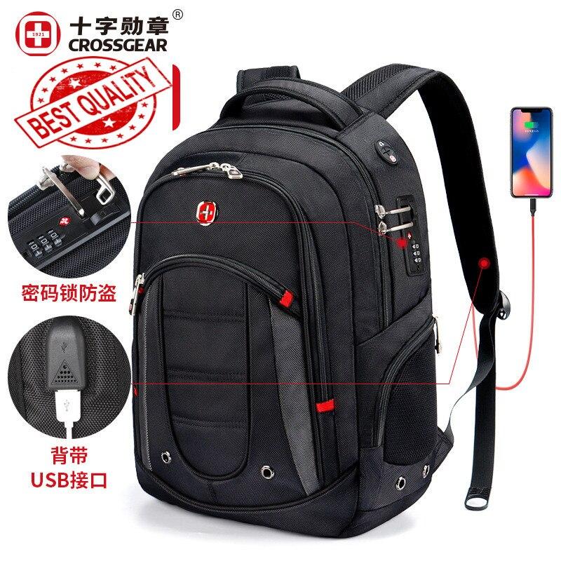 Sac suisse léger 17 pouces hommes d'affaires voyage affaires tsa anti-vol sac à dos pour ordinateur portable hommes fonction grande capacité école sac à dos