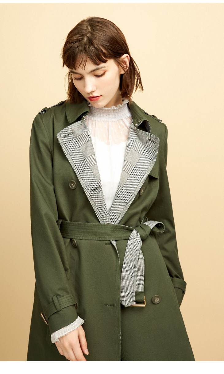 ONLY Women's Bi-tone Fabric Double-breasted Wind Coat 118336571 6