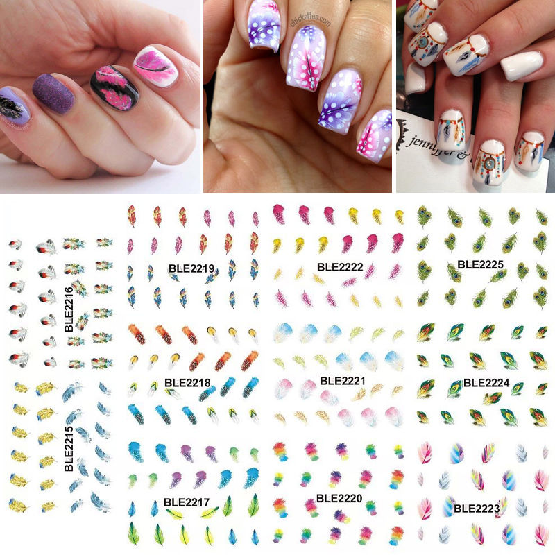 1 Lot = 11 Sheets Large  Rainbow Color Feather Water Transfer Nail Art Sticker Watermark Manicure Pedicure BLE2215-2225