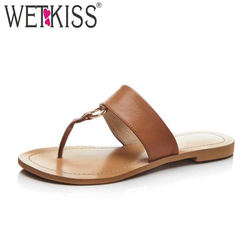 WETKISS Big Size 48 Flip Flop Summer Women Slippers Flat Sole Slides Shoes Leather Footwear Fashion Thongs Casual Girl Shoes women shoes 2018 summer breathable fashion lady s casual shoes lace up girls handmade women woven shoes flip flop footwear 599w