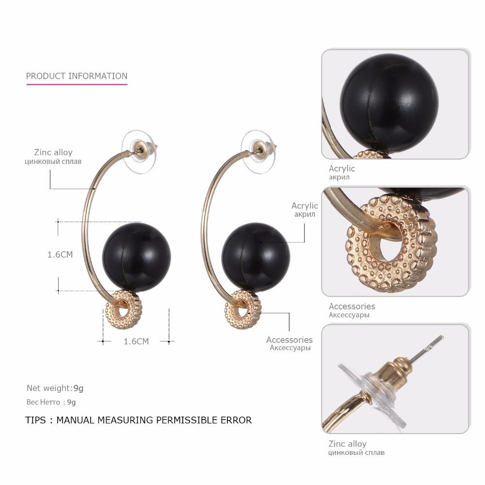 eManco Trendy Minimalist C Shape Pierce Hook Stud Earrings for Women Black Beads Ear Brand Fashion Jewelry