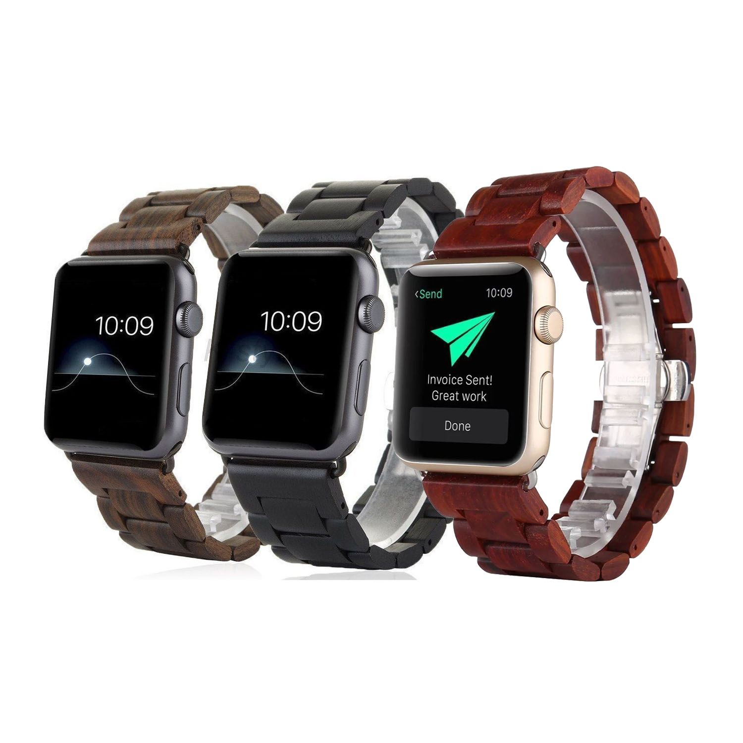 3 Colors Wooden Wrist Strap for Apple Watch Series 2 Band Bracelet for iWatch 1 2 38mm 42mm Butterfly Buckle Wood Wristband luxury ladies watch strap for apple watch series 1 2 3 wrist band hand made by crystal bracelet for apple watch series iwatch