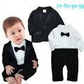 2016 Малышей детские мальчик 2 шт. набор джентльмен галстуки rompers + Куртки vestido bebe костюм День Рождения одежда костюмы