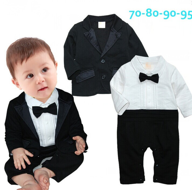 2016 Toddlers baby boy 2 pcs set gentleman Bow ties rompers +Jackets vestido bebe suit Birthday party clothing costumes